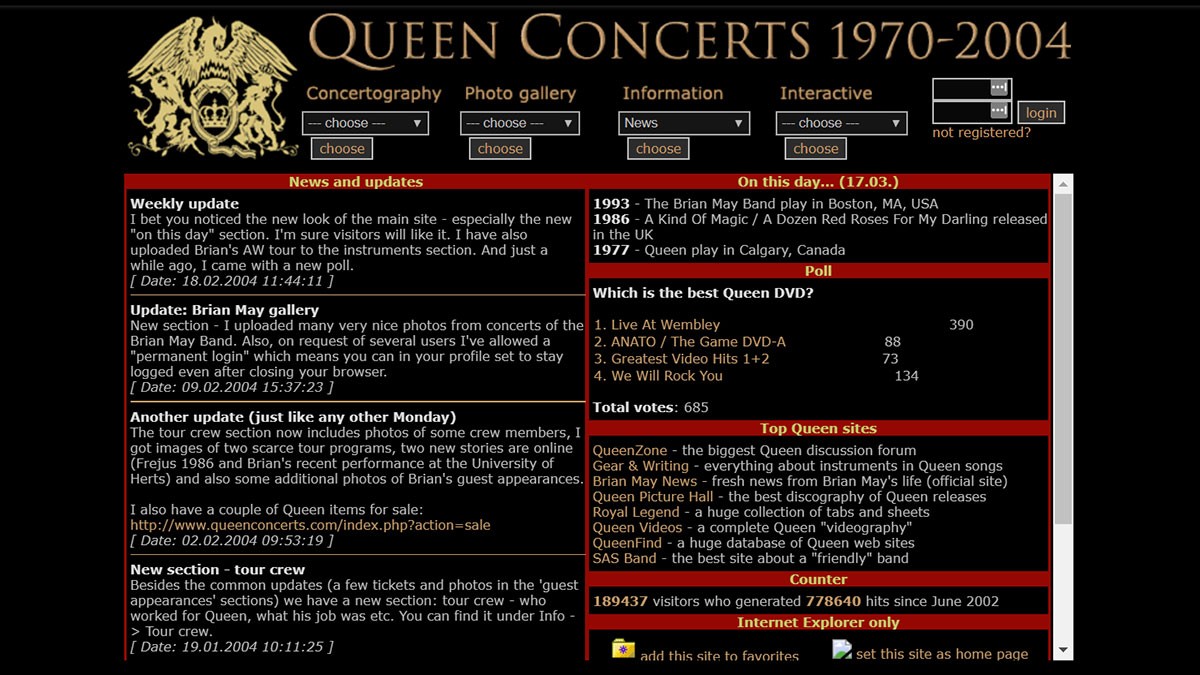 the design of QueenConcerts in year 2004