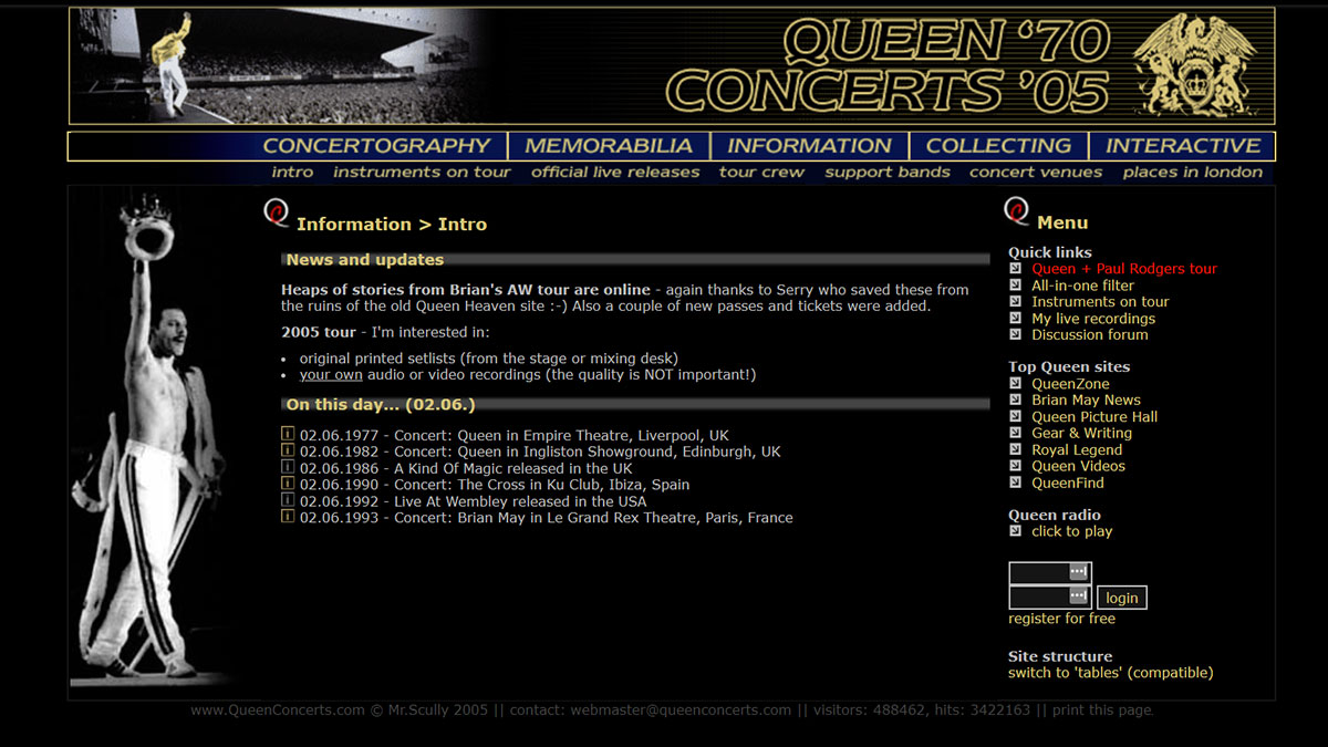 the design of QueenConcerts in year 2005