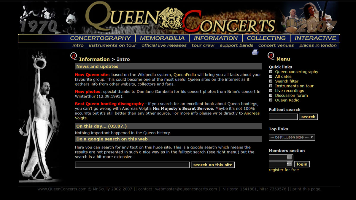 the design of QueenConcerts in year 2007