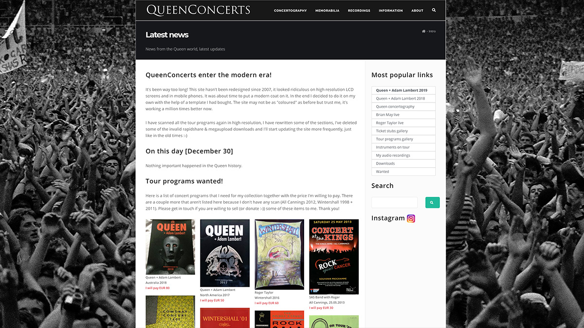 the design of QueenConcerts in year 2018