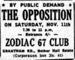 Flyer/ad - The Opposition in Leicester on 11.11.1967