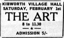 Flyer/ad - The Art in Kibworth on 1.2.1969