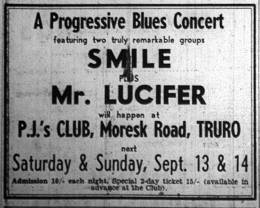 Flyer/ad - Smile in Truro on 13.-14.09.1969