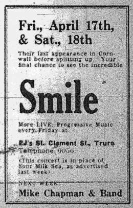 Flyer/ad - Smile in Truro on 17.-18.04.1970
