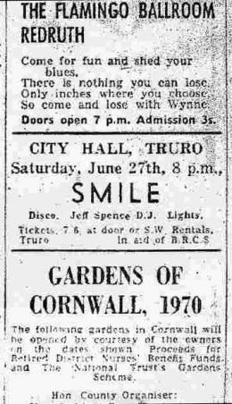 Flyer/ad - Queen in Truro on 27.06.1970