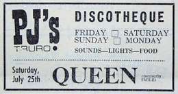 Flyer/ad - Queen in Truro on 25.07.1970