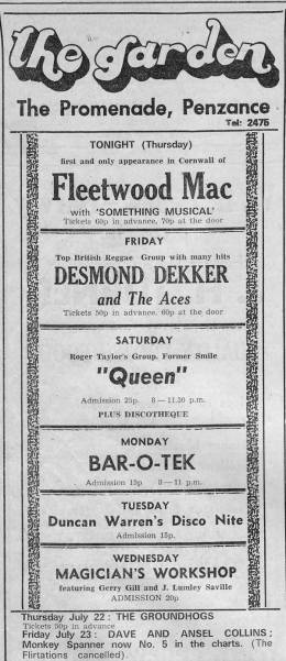 Flyer/ad - Queen in Penzance on 17.07.1971