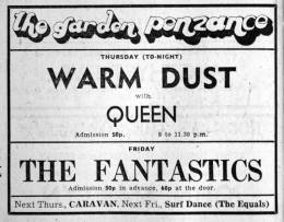 Flyer/ad - Queen in Penzance on 29.07.1971
