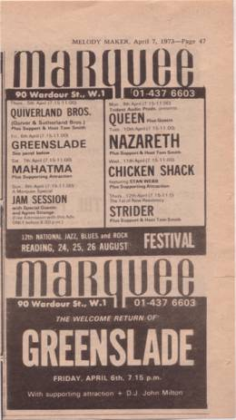 Flyer/ad - Queen in Marquee, London on 9.4.1973