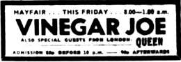 Flyer/ad - Newcastle 1973 ad - Queen and Vinegar Joe
