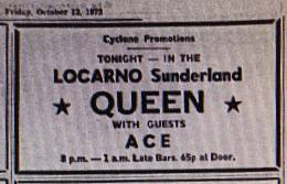 Flyer/ad - Queen in Sunderland on 12.10.1973