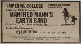 Flyer/ad - Queen in Imperial College, London on 2.11.1973