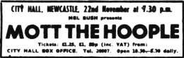 Flyer/ad - Newcastle 1973 ad - Queen and Mott The Hoople