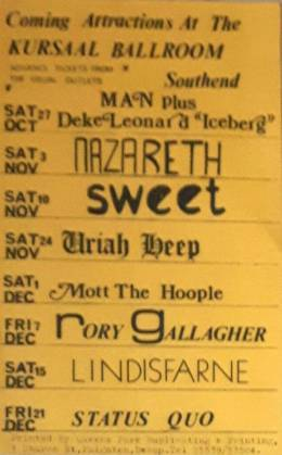 Flyer/ad - Mott/Queen in Southend on 01.12.1973