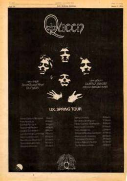 Flyer/ad - Queen on Queen II tour in the UK