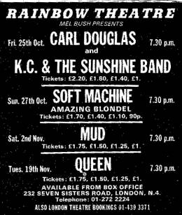 Flyer/ad - Queen in London on 19.11.1974