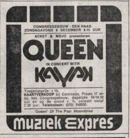 Flyer/ad - Queen in Hague on 08.12.1974