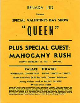 Flyer/ad - Queen in Waterbury on 14.2.1975