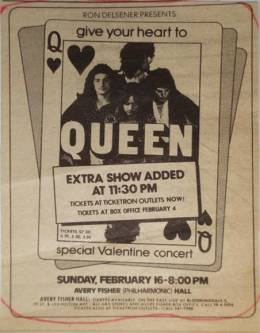 Flyer/ad - Queen in New York on 16.2.1975