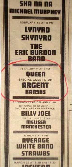 Queen in Passaic on 21.2.1975