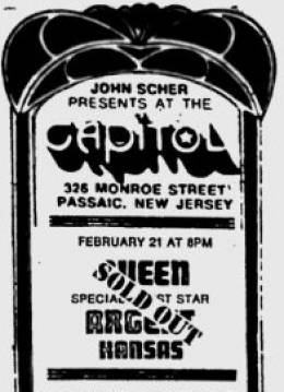 Flyer/ad - Queen in Passaic on 21.2.1975