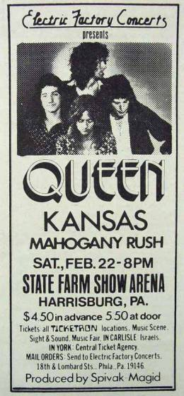 Flyer/ad - Queen in Harrisburg on 22.2.1975