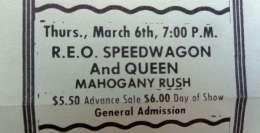 Flyer/ad - Queen in Madison on 06.03.1975
