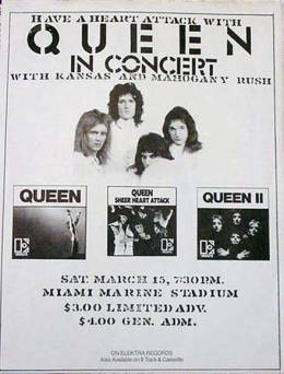 Flyer/ad - Queen in Miami on 15.3.1975