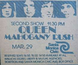 Flyer/ad - Queen in Santa Monica on 29.03.1975