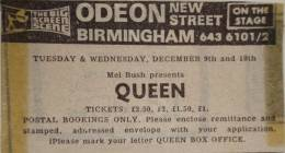 Flyer/ad - Queen in Birmingham on 9.-10.12.1975