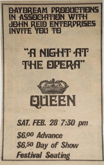 Queen in Madison on 28.2.1976