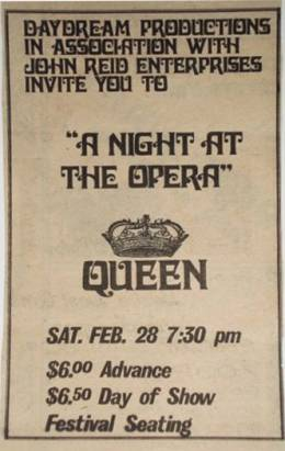 Flyer/ad - Queen in Madison on 28.2.1976