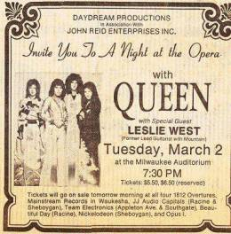 Flyer/ad - Queen in Milwaukee on 2.3.1976