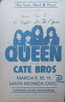 Flyer/ad - Queen in Santa Monica on 09.-11.03.1976