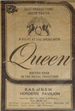 Flyer/ad - Queen in Sydney on 17.4.1976