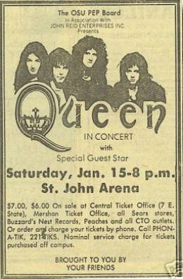 Flyer/ad - Queen in Columbus on 15.1.1977
