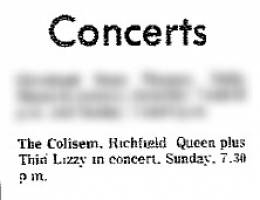 Flyer/ad - Queen in Richfield on 23.1.1977