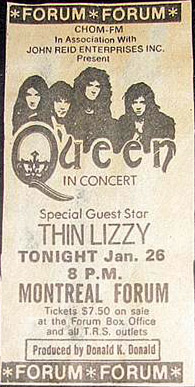 Queen in Montreal on 26.1.1977