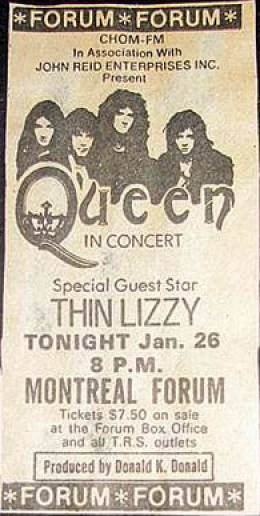 Flyer/ad - Queen in Montreal on 26.1.1977