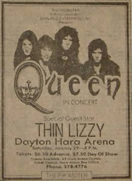 Flyer/ad - Queen in Dayton on 29.1.1977 (cancelled)