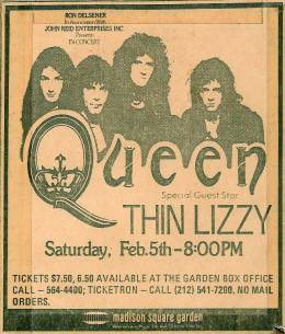 Flyer/ad - Queen in New York on 05.02.1977