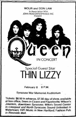 Flyer/ad - Queen in Syracuse on 8.2.1977