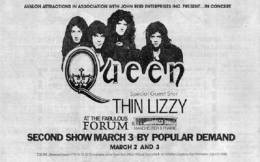 Flyer/ad - Queen in Los Angeles on 02.-03.03.1977