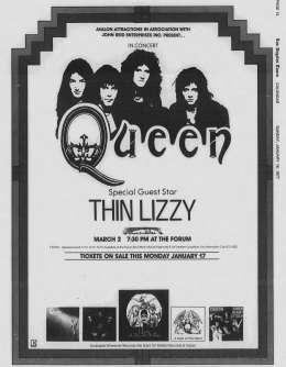 Flyer/ad - Queen in Los Angeles on 02.03.1977