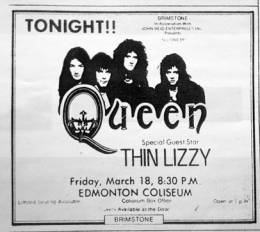 Flyer/ad - Queen in Edmonton on 18.03.1977