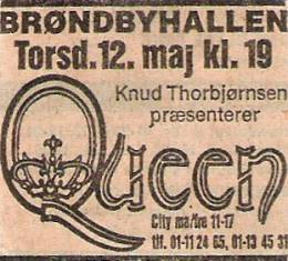 Flyer/ad - Queen in Copenhagen on 12.05.1977