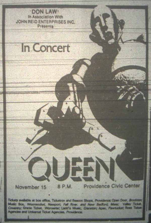 Queen in Providence on 15.11.1977