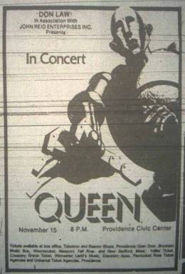 Flyer/ad - Queen in Providence on 15.11.1977