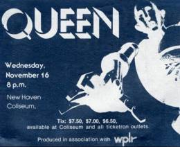 Flyer/ad - Queen in New Haven on 16.11.1977