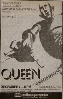 Flyer/ad - Queen in New York on 1.12.1977